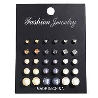 PINKING ピアス 人工パール ラインストーン ジルコン アクセサリー ファッション 可愛い 耳スタッド 盛り合わせ 15ペアセット
