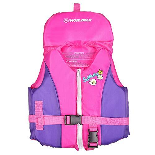 HIKING 子供用 ライフジャケット キッズ 幼児 シュノーケリング 道具 フローティング ベスト 股ベルト付き 2色 (ピンク, M)
