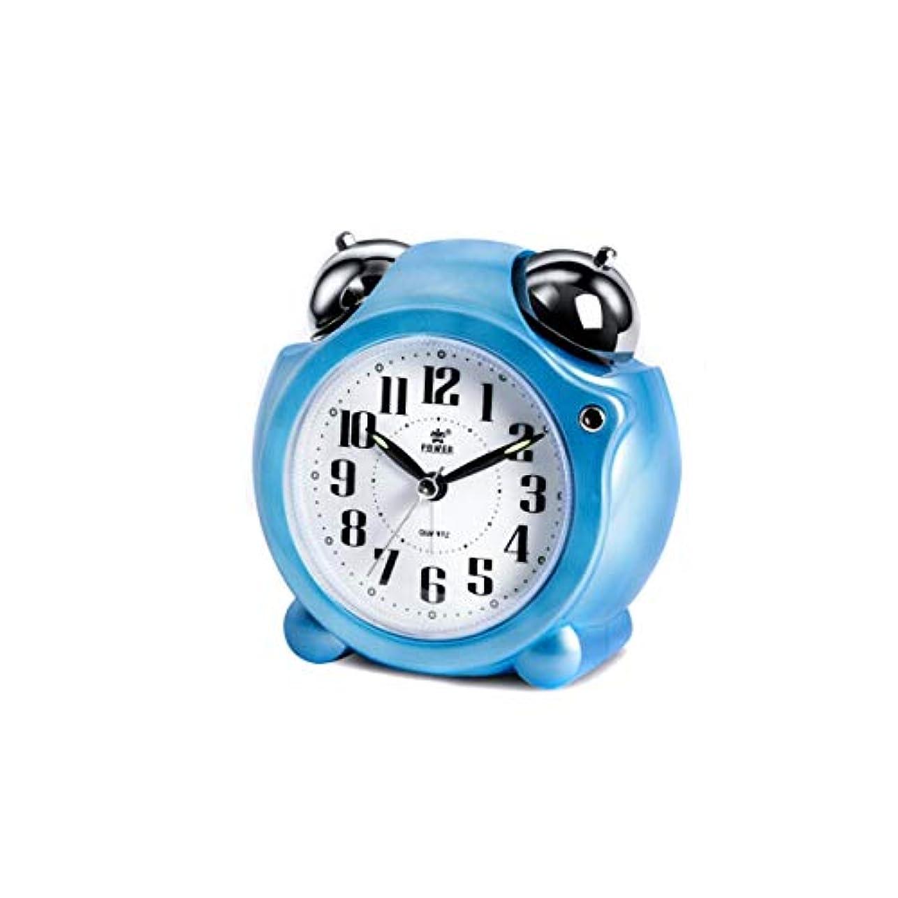 違法時折市の中心部Qiyuezhuangshi001 目覚まし時計、創造的な時計スヌーズメカニカルリンギングアラームテーブル、環境ポインター学生小さな目覚まし時計、ベッドサイドベル時計、青、 材料の安全性 (Color : Blue)