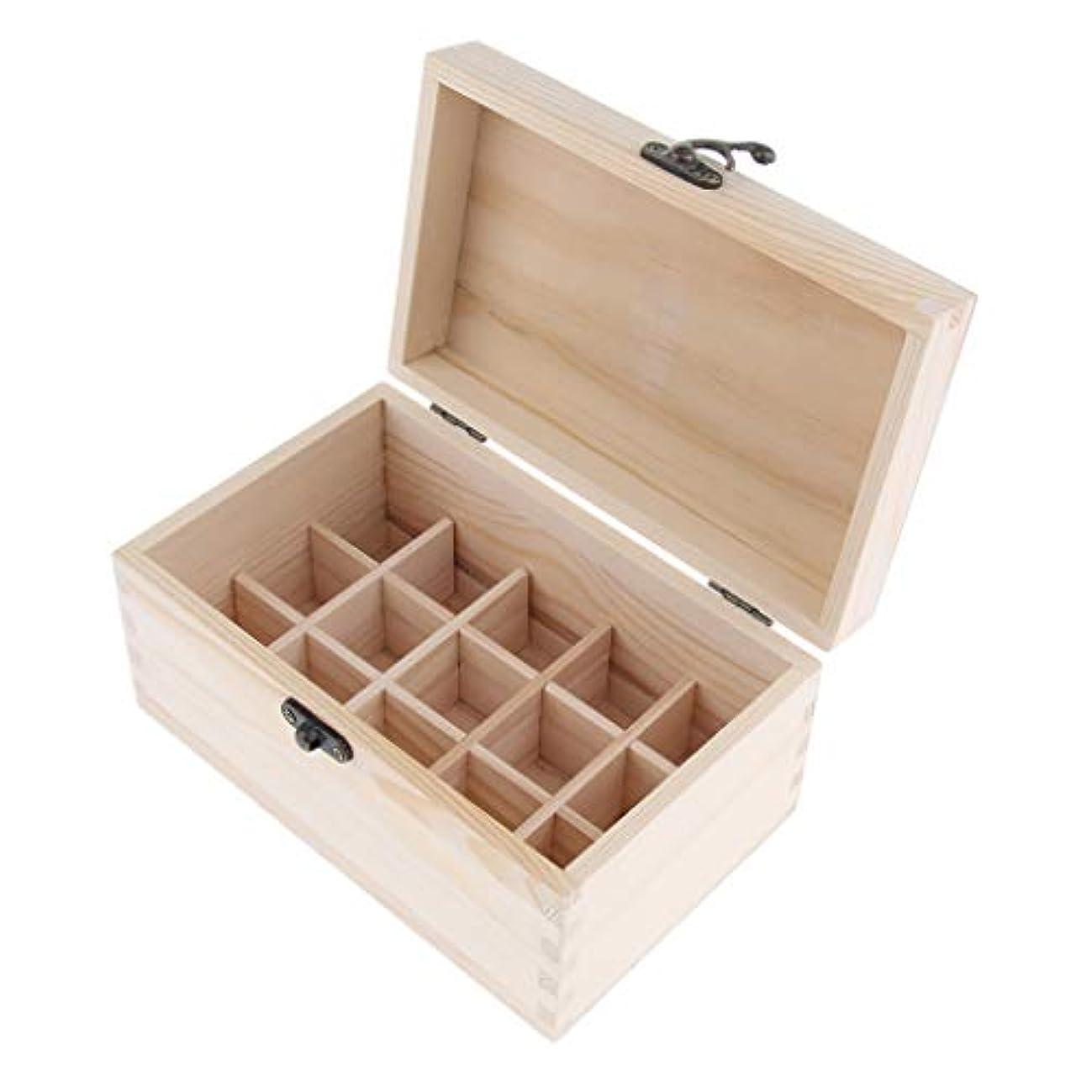 インフラ買い手生態学精油ケース 化粧品収納ボックス 15仕切り 木製 エッセンシャルオイル コンパクト 携帯便利 実用性