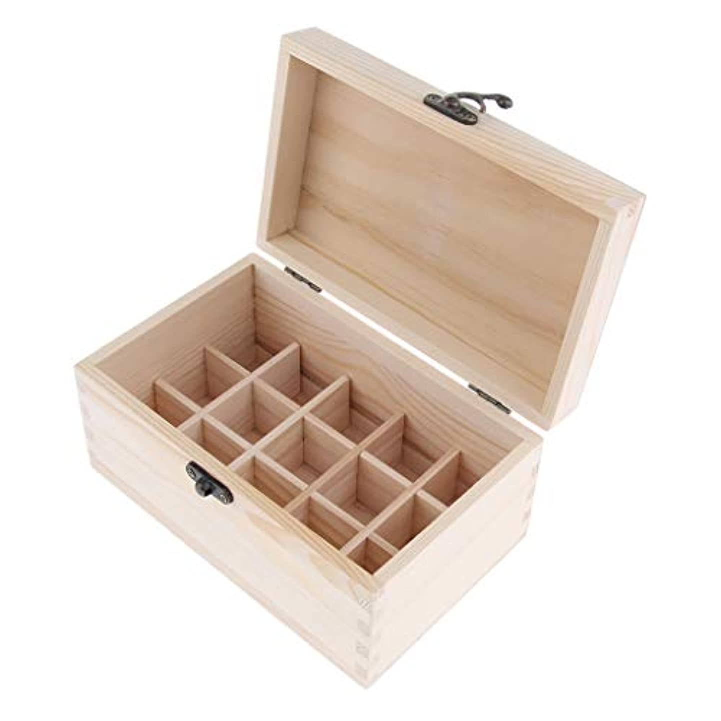 に向けて出発合成しみchiwanji 精油ケース 化粧品収納ボックス 15仕切り 木製 エッセンシャルオイル コンパクト 携帯便利 実用性