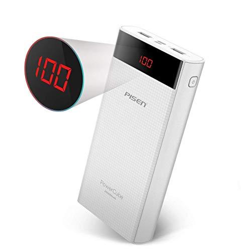 PISEN モバイルバッテリー 20000mAh Type-CとMicro USB入力ポート LED残量表示 iPhone/Android対応(ホワイト)