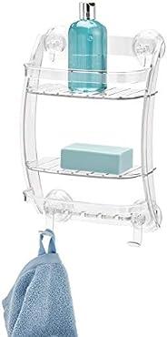 InterDesign Power Lock Suction Bathroom Shower Caddy Organizer for Shampoo, Conditioner, Soap - Clear