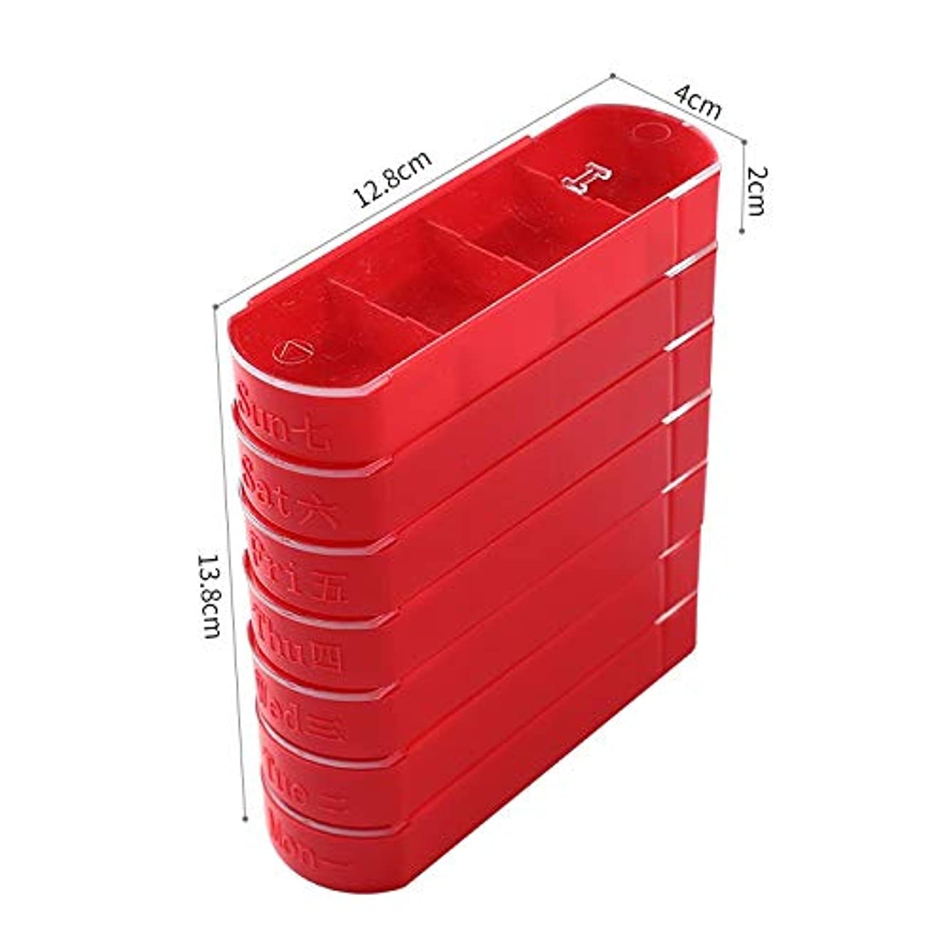 松役員インセンティブHTDZDX 毎週ピルボックスピルタワー収納ボックス、7日間薬オーガナイザー4コンパートメント、ポータブルトラベルピルケース (Color : Red)