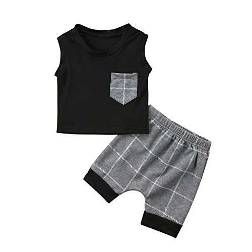 niceclould 2PCS Toddler Kid Baby Boy Clothing Set Black Sleeveless Shirt Top Gray Plaid Short Pants Clothes Outfit Set Playsuit Summer - Grey - 0-6 Months