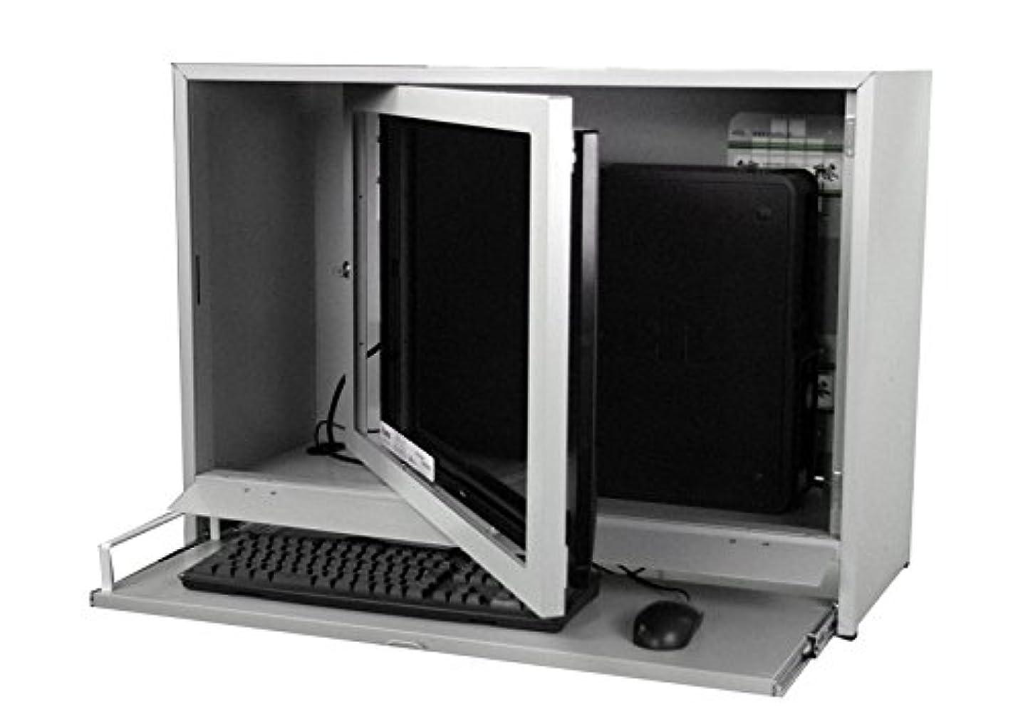 大学生ブリーフケース補う防塵ラック PCケース ノートPC モニター 工場使用可 排熱 ホコリ メーカー直販 頑丈 セイテック Tidy Box 32 ライトグレー