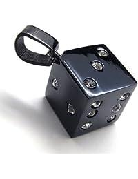 [テメゴ ジュエリー]TEMEGO Jewelry メンズクリスタルステンレススチールヴィンテージペンダントダイスネックレス、ブラックシルバー[インポート]