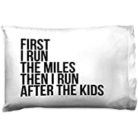 Gone for a run running枕カバー|最初I Run the Miles Then I Run After the Kids ホワイト tr-38228-WHITE
