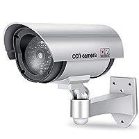 ダミーカメラ ソーラーパネル搭載 セキュリティステッカー付 防犯カメラ 監視カメラ 不審者対策 防犯対策 赤外線ledライト 赤LED点滅ライト常時点滅 偽装 屋内外両用