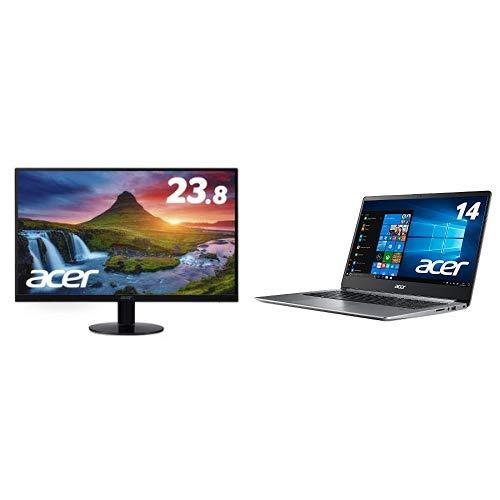モニター+PCセット Acer モニター SA240YAbmi 23.8インチ IPS 非光沢 フルHD 4ms HDMI ミニD-Sub 15ピン + 【 Amazon.co.jp限定】Acer 軽量・薄型ノートパソコン Celeron N4000 14インチ 4GB 256GB SSD ドライブ無 Win10 SF114-32-N14U S