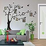 fenging3 黒い木 写真ツリー 家系 鳥 取り外し可能な ウォールステッカー 壁デカール 壁紙 壁の装飾