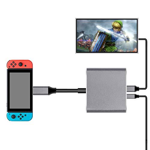 Nintendo Switch Type-C to HDMI変換アダプタ 3in1 ニンテンドー スイッチドック 代わり品 熱対策 映像変換 4K解像度 スイッチ ドックセット HDMI変換アダプタ Macbook Chromebook Android適用