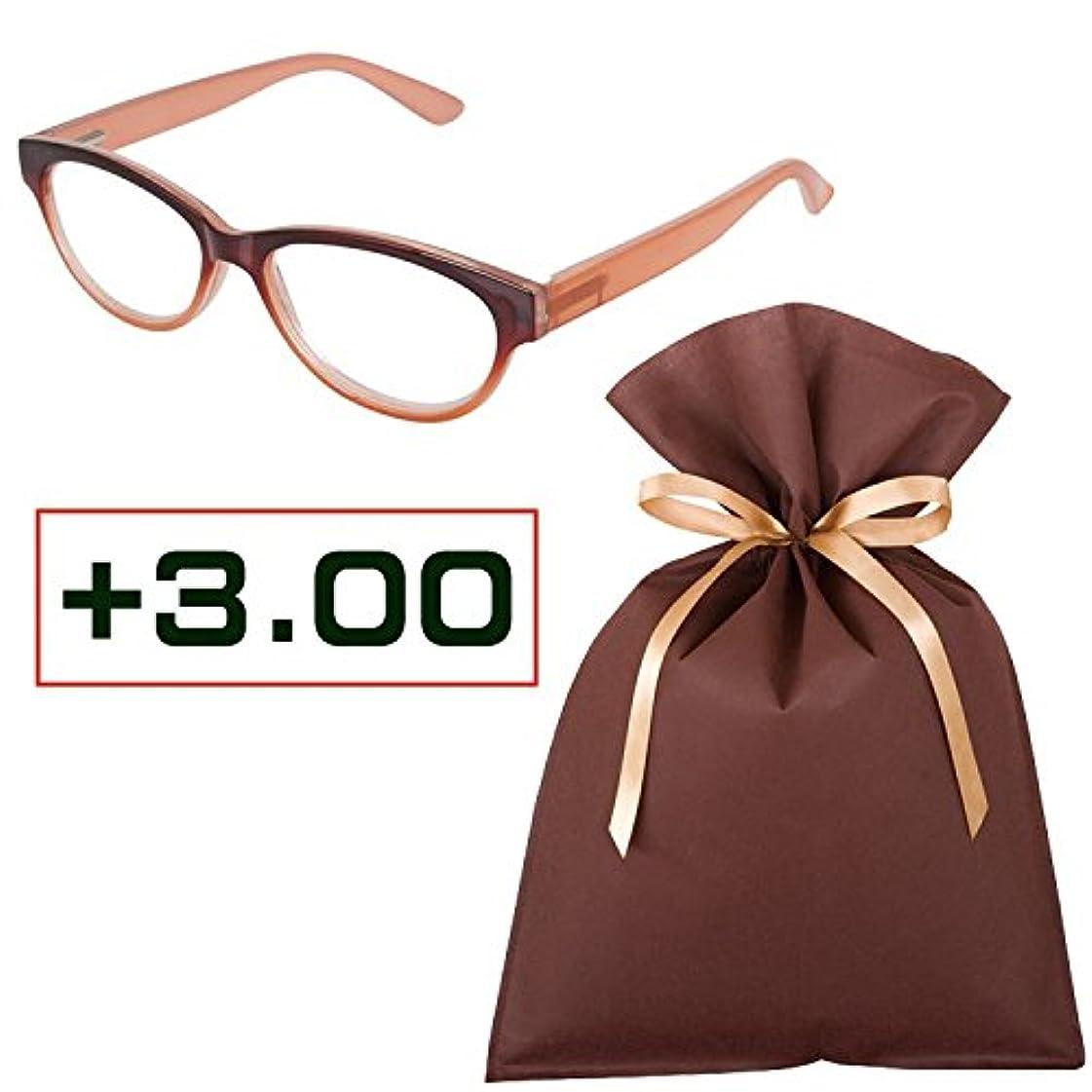 老眼鏡ギフトセット(+3.00)READING GLASSES BROWN_PINK 3.0