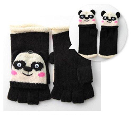 レディースニット手袋 指切りミトンカバー付き アニマルシリーズ ブラック(パンダさん)
