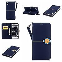 Sony Xperia XA1 Case,Sony Xperia XA1 Case,レザーケース Premium PU Leather Wallet Snap Case レザーケース レザーケース Flip Cover for Sony Xperia XA1 Navy Blue