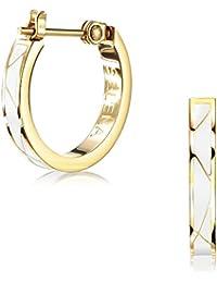 (Selena Jewelry) クロッシング ライン フープピアス イエローゴールド コーティング Classic White クラッシックホワイト ((B.) デラックスパッケージ)