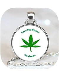 マリファナリーフチャーム、プラネットネックレスペンダント、緑のフォトネックレスチャームを保存保存