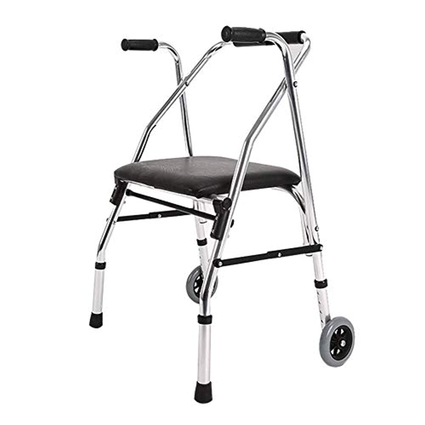 羨望カポック完璧軽量ウォーカー、パッド入りシートとバッグコンパクト折りたたみデザイン高齢者ウォーカー付きアルミニウムローラー