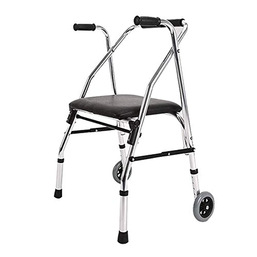 蛇行肺炎囲まれた軽量ウォーカー、パッド入りシートとバッグコンパクト折りたたみデザイン高齢者ウォーカー付きアルミニウムローラー