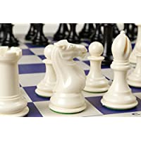 Quadruple Weight Tournament Chess Game Set - Chess Board Game with Staunton Ivory Chess Pieces, Blue Vinyl Chess Board