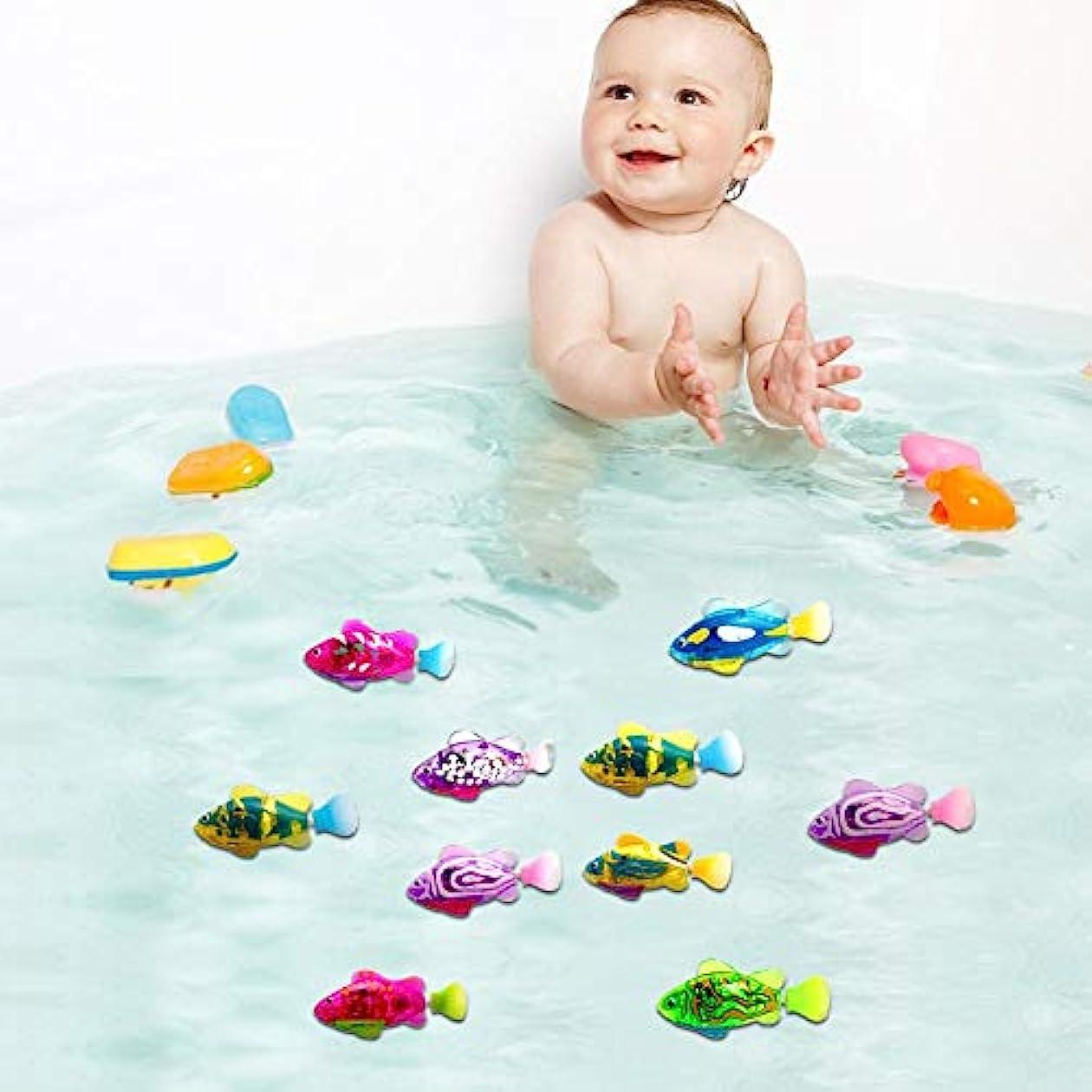 参加する遵守する荒涼とした電気魚のおもちゃ、赤ちゃんのお風呂のおもちゃ、光る魚(4個/袋)