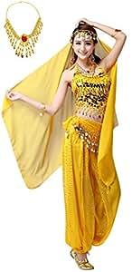 Madrugada パンツタイプ ベリーダンス 衣装 5点セット コスチューム (トップス + パンツ + ベール + ヒップスカーフ + ネックレス) レディース S406 (イエロー)
