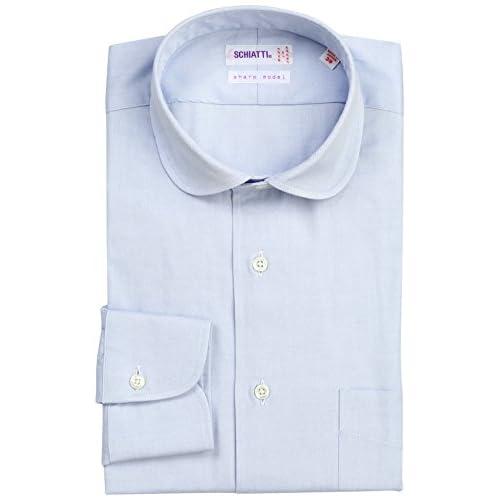 (スキャッティ)SCHIATTI 80番手双糸ピンオックスラウンドカラーシャツ 220320 24 ブルー 38