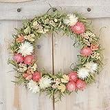 草原で見つけた妖精の花冠♪Coquelicot☆かわいいピンクのドライ フラワーリース