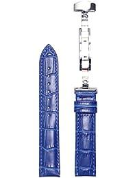 腕時計 ベルト 18mm レザー 青 Dバックル式 シルバー sd-bu-s 交換工具付属