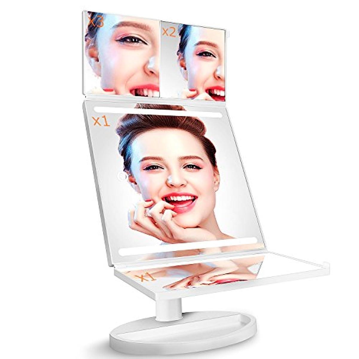 実験的鰐マントル化粧鏡 化粧ミラーLightingWill 360°回転 鏡 ブライトミラー 三面鏡 女優ミラー 卓上 led付き 折りたたみ 拡大鏡 2&3倍 明るさ調節可能 電池&USB 2WAY給電(2018新しい設計)