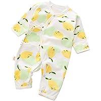 Fairy Baby Boys Girls Romper Cotton Fruit Print Sleeper Pajamas Japanese Kimono Outfit Size 6-12M (Lemon Yellow)