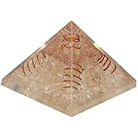 Aatm healing 4 Sided Copper Coil Crystal With Clear Crystal Gemstone EMF Protection Meditation Yoga Energy Generator (Stone Of Purity & Positivity)