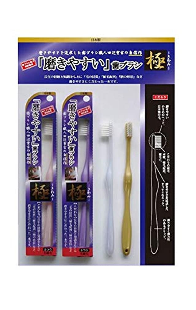 称賛世代請願者歯ブラシ職人 田辺重吉 磨きやすい歯ブラシ 極 先細毛タイプ LT-22(1本×4個セット)