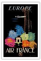ヨーロッパ - エアフランス - ヨーロッパ人旅行者の行き先 - ビンテージな航空会社のポスター によって作成された エドモンド・マウルス c.1948 - アートポスター - 76cm x 112cm
