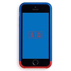 (エスキュー) SQ 日本製 ツートンカラーバンパー Duralumin Bumper for iPhone SE/5s/5 Blue×Red