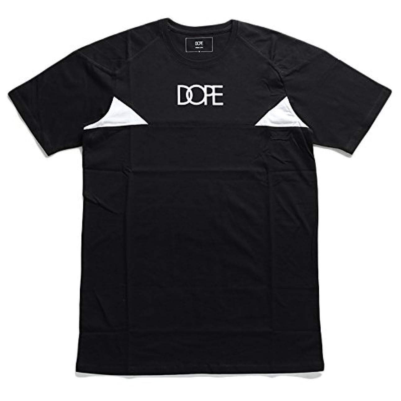 うまくいけば逆り【D0415-T172-BK】 ドープ DOPE Tシャツ 半袖 ティーシャツ 切替 ブランドロゴ バイカー アメカジ スケート ビッグシルエット 大きいサイズ 正規品 (01)黒 M