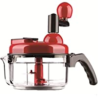 SHINKODA SK-338E 4 In 1 Manual Food Processor, Salad Spinner,Salsa Maker,Quick Chopper & Blender,4-Cup,Black/Red by SHINKODA