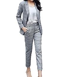 nijuh スーツ パンツスーツ グレンチェック柄 テーラードジャケット パールボタン アンクルパンツ OL 入卒園 レディース