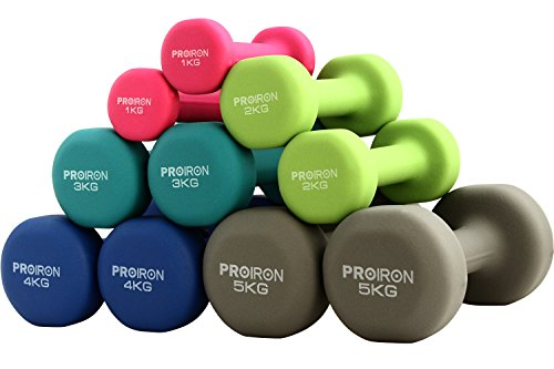 PROIRON ダンベル 2kg エクササイズ ネオプレンゴムコーティング [筋力トレーニング 筋トレ シェイプアップ 鉄アレイ 鉄アレー]