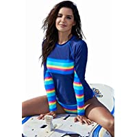 Minqi Women's Rashguard Long Sleeve UV Rash Guard Shirt Swimwear Bathing Suit Tankini Swimsuit
