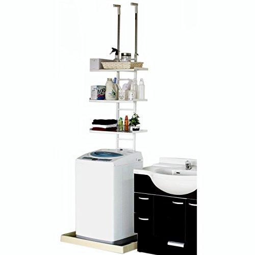 川口工器 はしご形状のかんたん設置つっぱり洗濯機上ラック・棚3段タイプ 17651 (ホワイト)