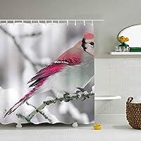鳥シャワーカーテン 165*180cm 浴室 窓 お風呂 ポリエステル おしゃれ 撥水加工 リング付 お手入れ 取付簡単
