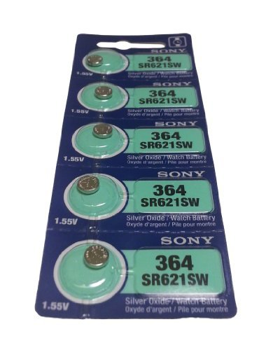 SONY ソニー 酸化銀電池 ボタン電池 SR621SW(No.364) 5個入り