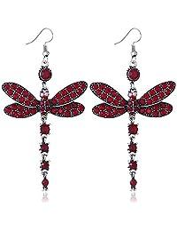 Womens Vintage Rhinestone Dragonfly Tassel Earrings Alloy Dangle Drop Earrings Dragonfly Jewelry Long Dangle Earring for Women Party Wedding Red