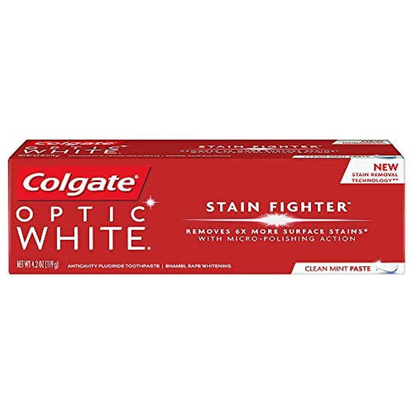 ヒロイン中間ハードコルゲート ホワイトニング Colgate 119g Optic White STAIN FIGHTER 白い歯 歯磨き粉 ミント (Clean Mint Paste)