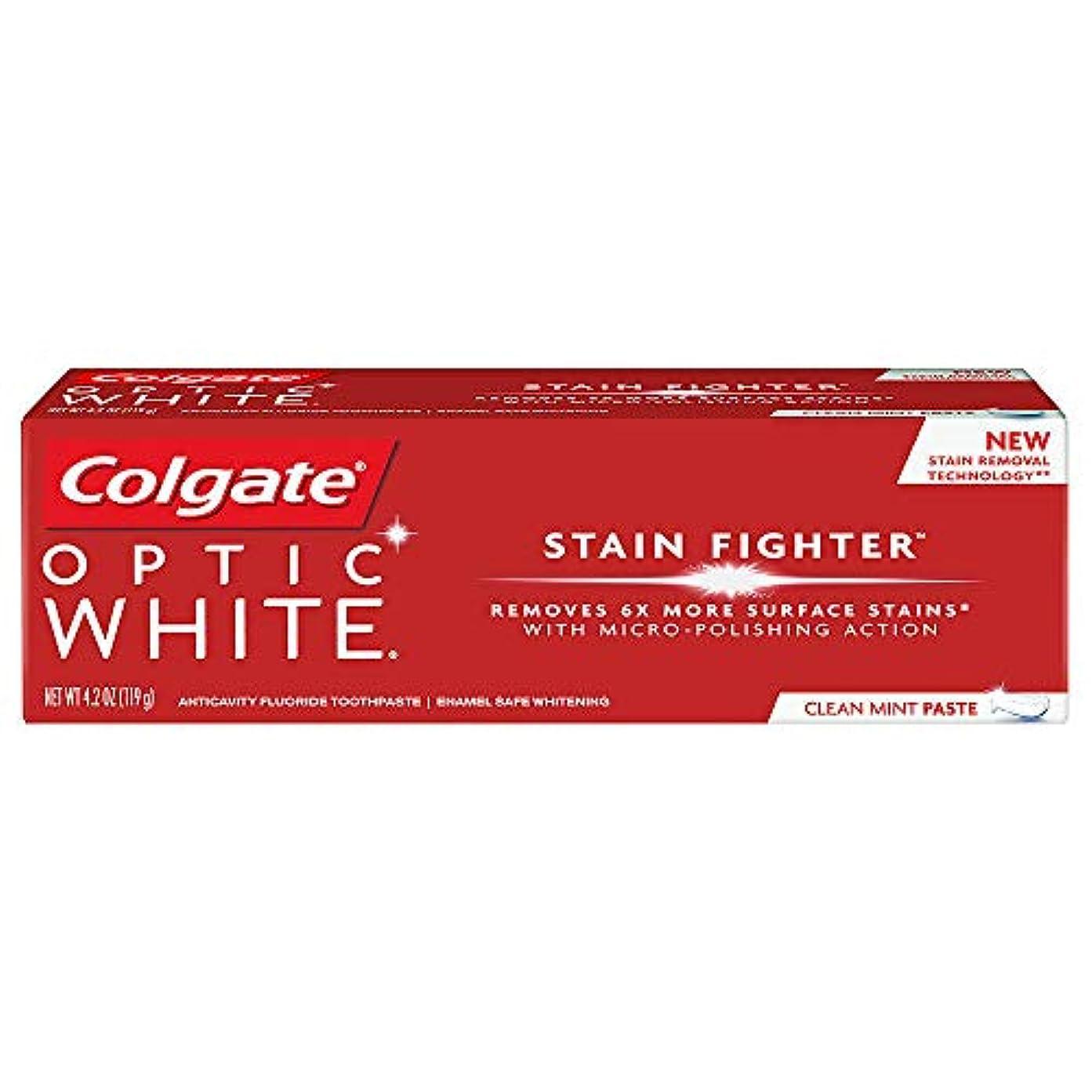 適応秀でる強風コルゲート ホワイトニング Colgate 119g Optic White STAIN FIGHTER 白い歯 歯磨き粉 ミント (Clean Mint Paste)
