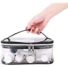 Apsung Portable Transparent Travel Toiletry Bag For Women and Men,Waterproof Clear Makeup Bag with Zipper and Handle Shaving Washing Kits Organize Pouch