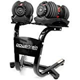 Pair Powertrain Adjustable Dumbbell Set with Stand - 48kg weight