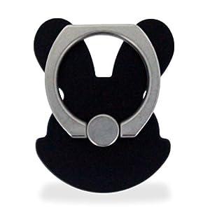 ホワイトナッツ スマホリング ウサギ型 ブラック バンカーリング 落下防止 スタンド おしゃれ かわいい指輪 デザイン シンプル グリップ wn-0832347-wy