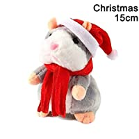 Talking Pet,ZOZOE Hamster Speak Sound Record Electric Talking Walking Cute Mimicry Pet Christmas Plush Intactive Toy Funny Speak Record Voice Animal Mouse Gift with Chritmas Scarf Hat-Nodding Type